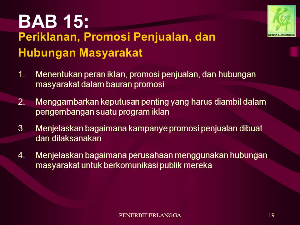 BAB 15: Periklanan, Promosi Penjualan, dan Hubungan Masyarakat