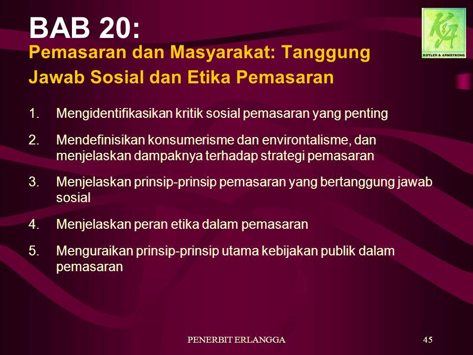 BAB 20: Pemasaran dan Masyarakat: Tanggung Jawab Sosial dan Etika Pemasaran