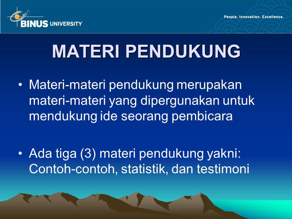 MATERI PENDUKUNG Materi-materi pendukung merupakan materi-materi yang dipergunakan untuk mendukung ide seorang pembicara.