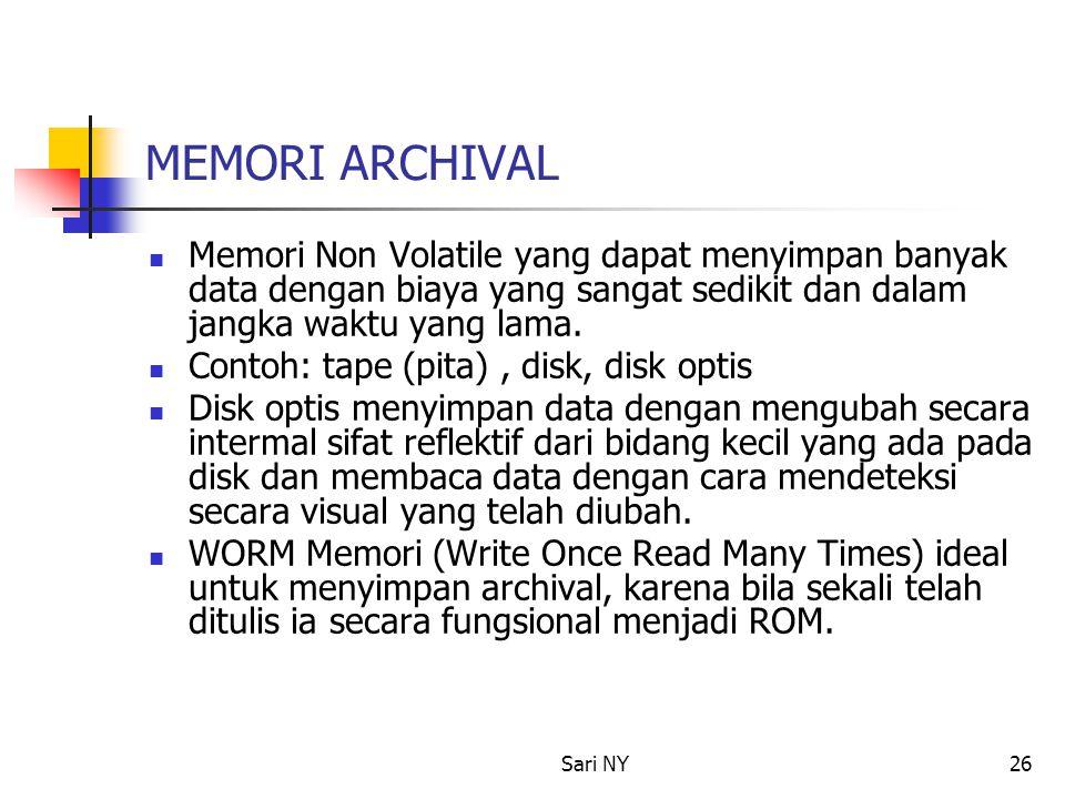 MEMORI ARCHIVAL Memori Non Volatile yang dapat menyimpan banyak data dengan biaya yang sangat sedikit dan dalam jangka waktu yang lama.