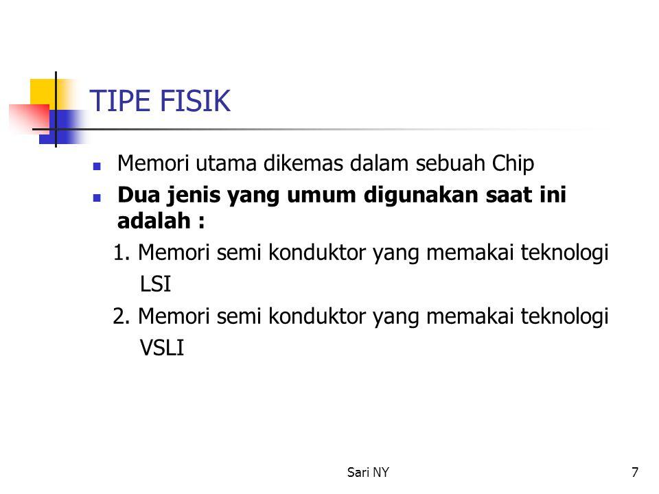 TIPE FISIK Memori utama dikemas dalam sebuah Chip