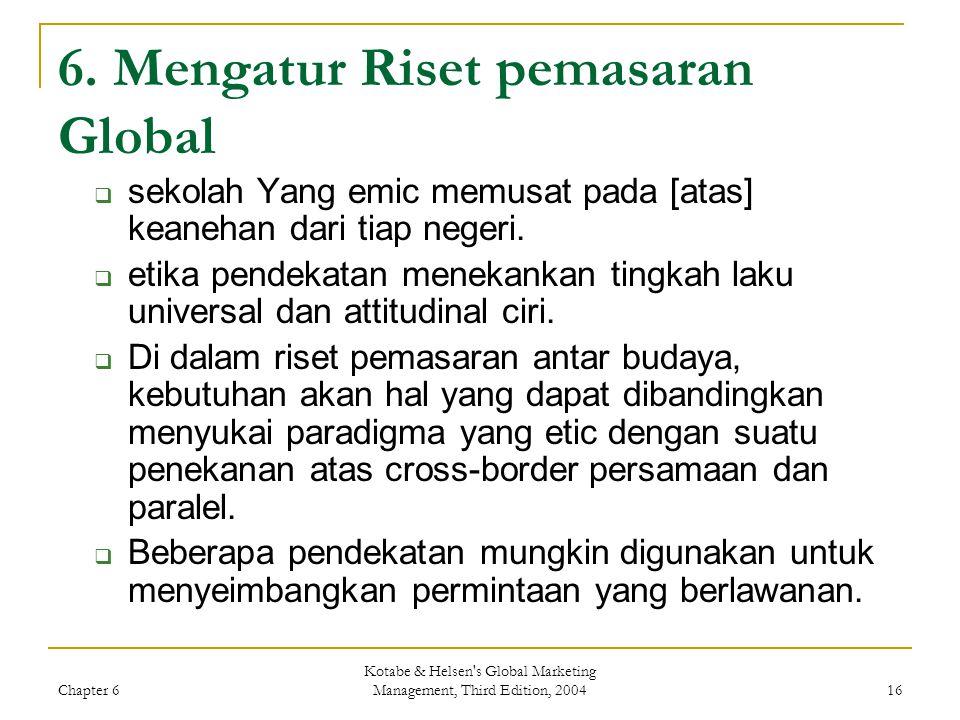 6. Mengatur Riset pemasaran Global