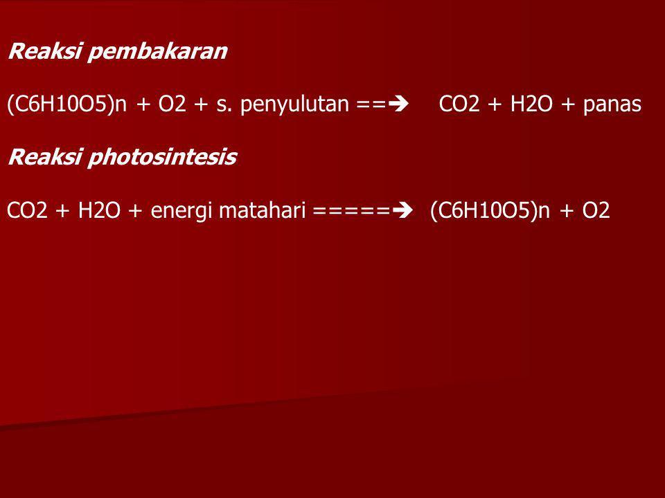 Reaksi pembakaran (C6H10O5)n + O2 + s. penyulutan == CO2 + H2O + panas. Reaksi photosintesis.
