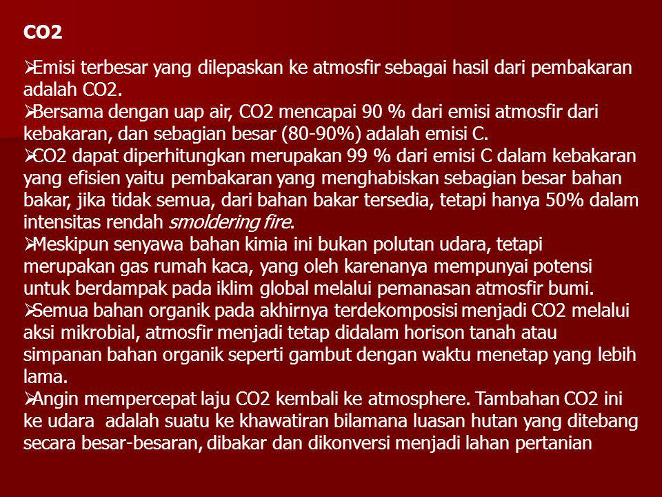CO2 Emisi terbesar yang dilepaskan ke atmosfir sebagai hasil dari pembakaran adalah CO2.