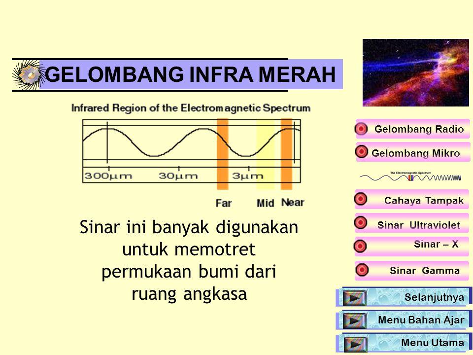 GELOMBANG INFRA MERAH Gelombang Radio. Gelombang Mikro. Cahaya Tampak. Sinar ini banyak digunakan untuk memotret permukaan bumi dari ruang angkasa.