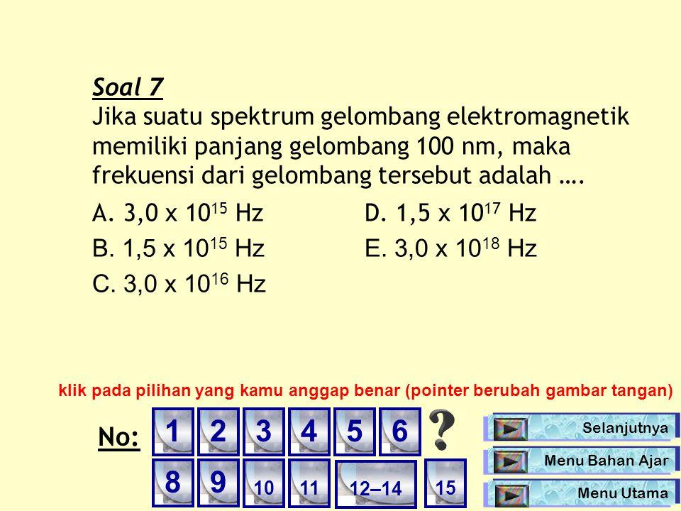 Soal 7 Jika suatu spektrum gelombang elektromagnetik memiliki panjang gelombang 100 nm, maka frekuensi dari gelombang tersebut adalah ….