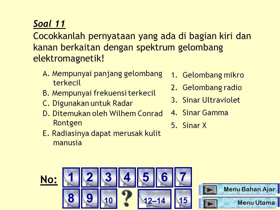 Soal 11 Cocokkanlah pernyataan yang ada di bagian kiri dan kanan berkaitan dengan spektrum gelombang elektromagnetik!