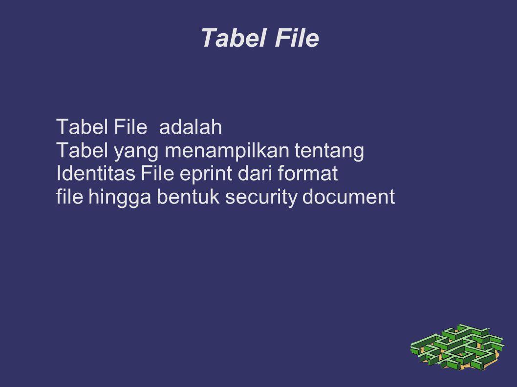 Tabel File Tabel File adalah Tabel yang menampilkan tentang