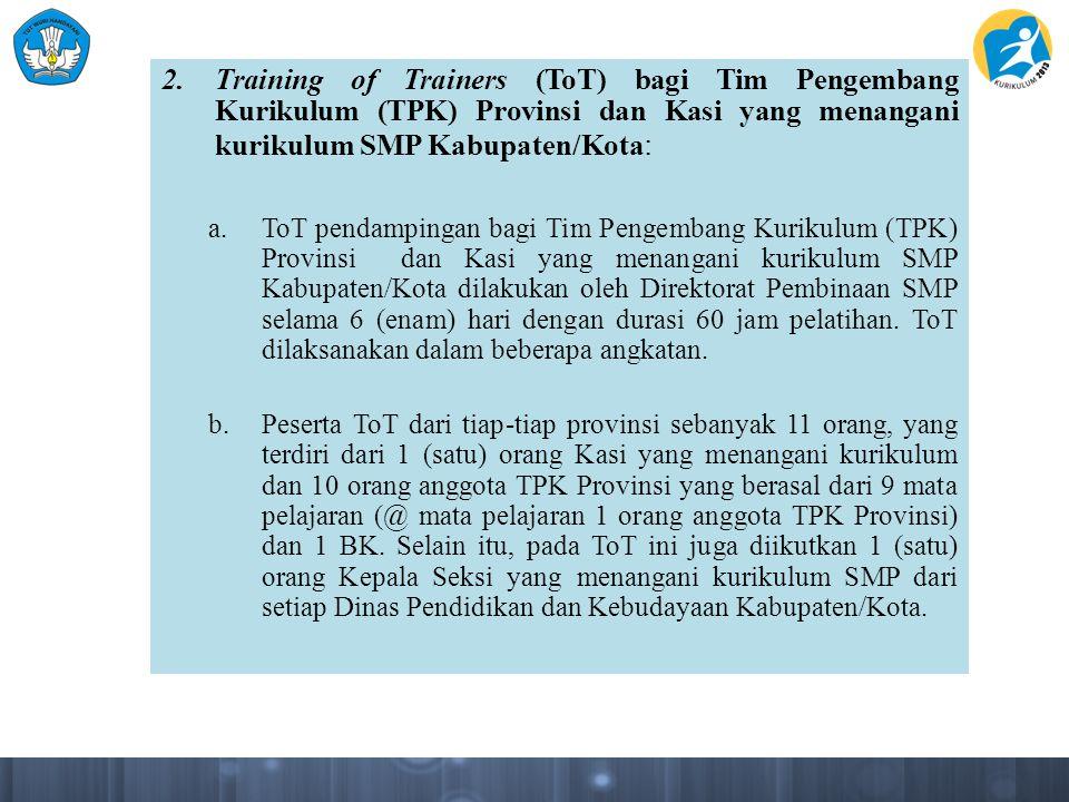 Training of Trainers (ToT) bagi Tim Pengembang Kurikulum (TPK) Provinsi dan Kasi yang menangani kurikulum SMP Kabupaten/Kota: