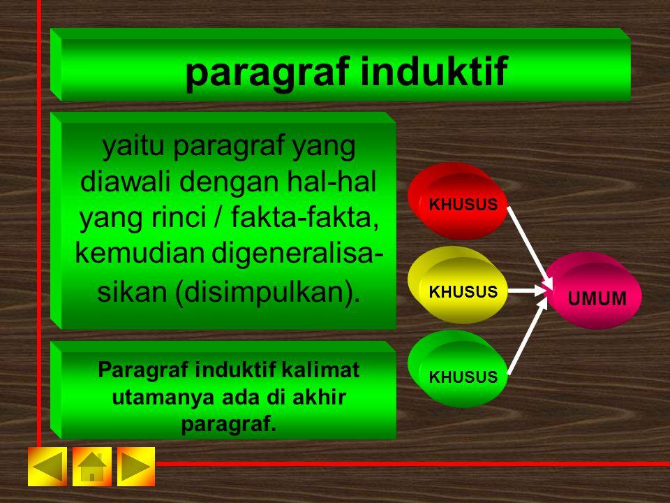 Paragraf induktif kalimat utamanya ada di akhir paragraf.
