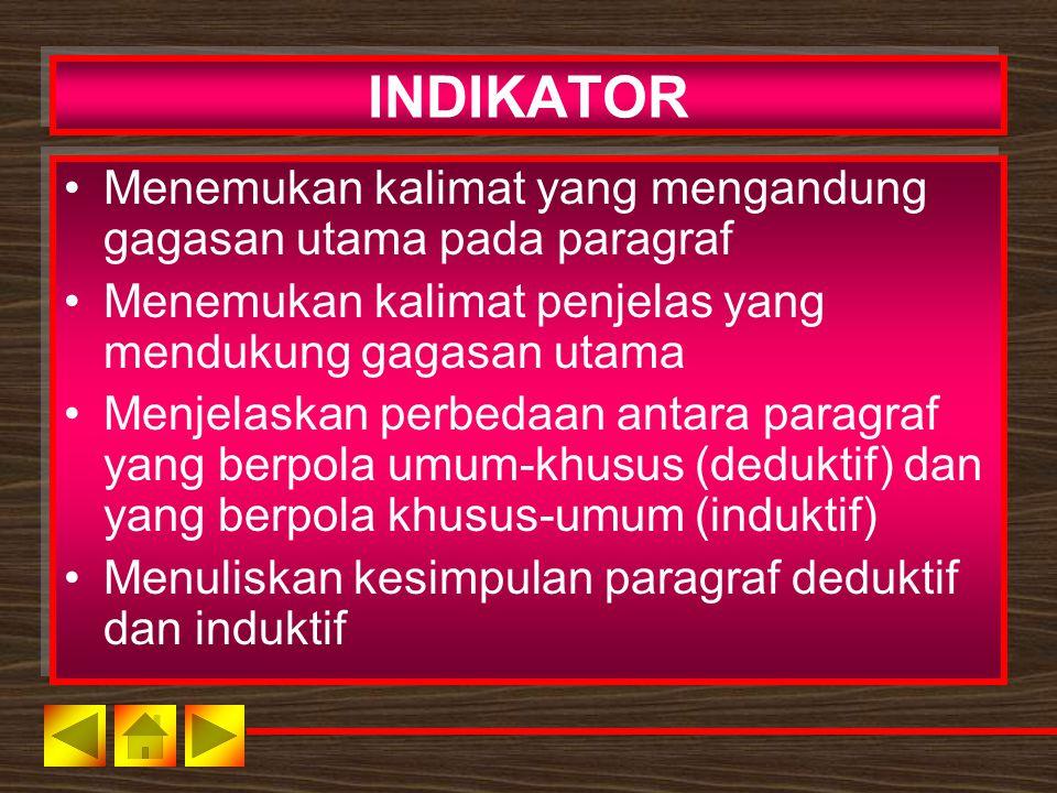 INDIKATOR Menemukan kalimat yang mengandung gagasan utama pada paragraf. Menemukan kalimat penjelas yang mendukung gagasan utama.