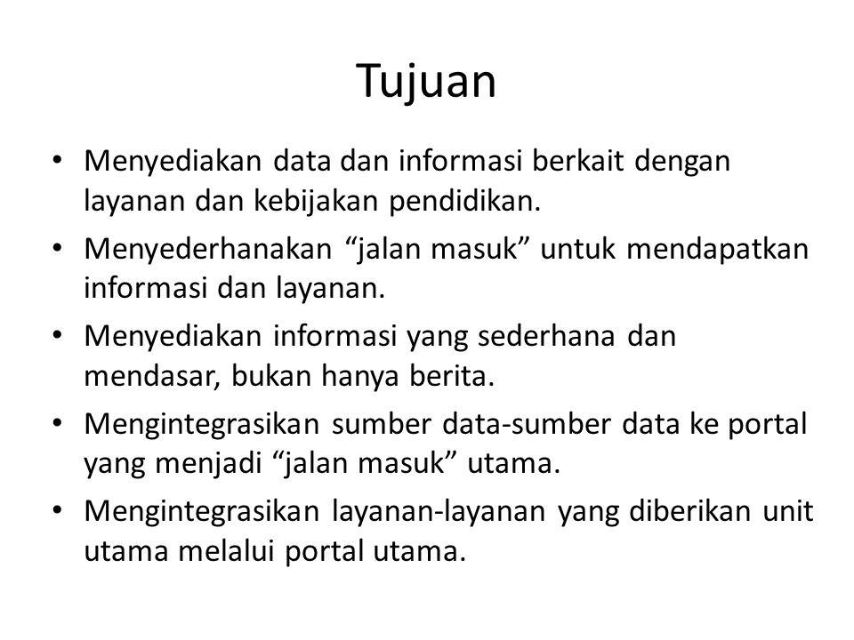 Tujuan Menyediakan data dan informasi berkait dengan layanan dan kebijakan pendidikan.