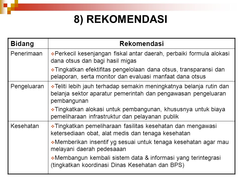 8) REKOMENDASI Bidang Rekomendasi Penerimaan