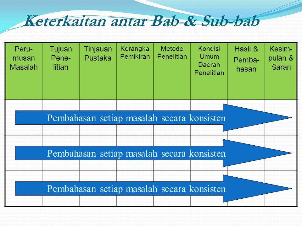Keterkaitan antar Bab & Sub-bab