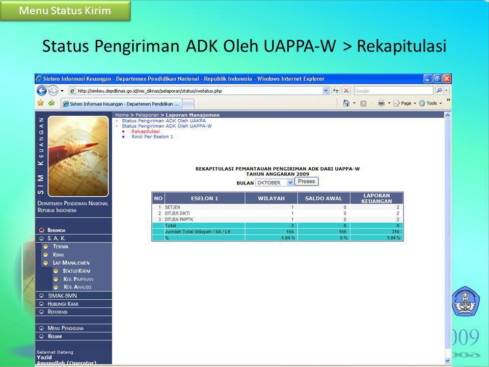 Status Pengiriman ADK Oleh UAPPA-W > Rekapitulasi