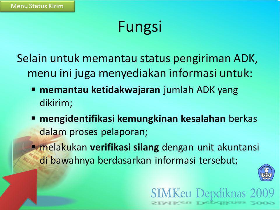 Menu Status Kirim Fungsi. Selain untuk memantau status pengiriman ADK, menu ini juga menyediakan informasi untuk:
