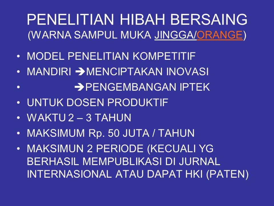 PENELITIAN HIBAH BERSAING (WARNA SAMPUL MUKA JINGGA/ORANGE)