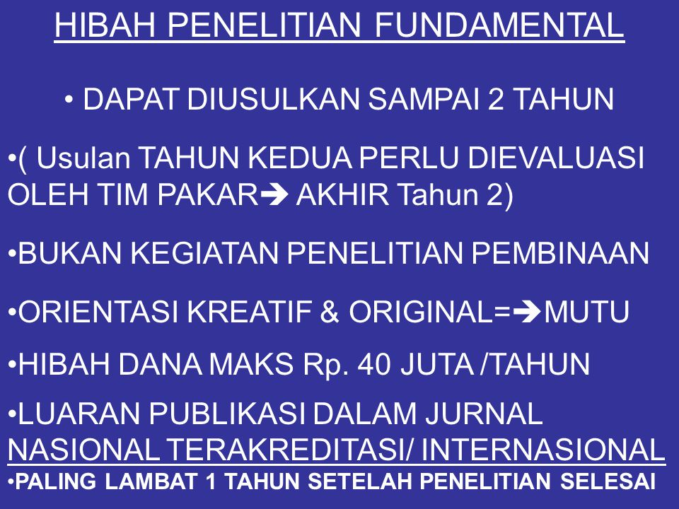 HIBAH PENELITIAN FUNDAMENTAL
