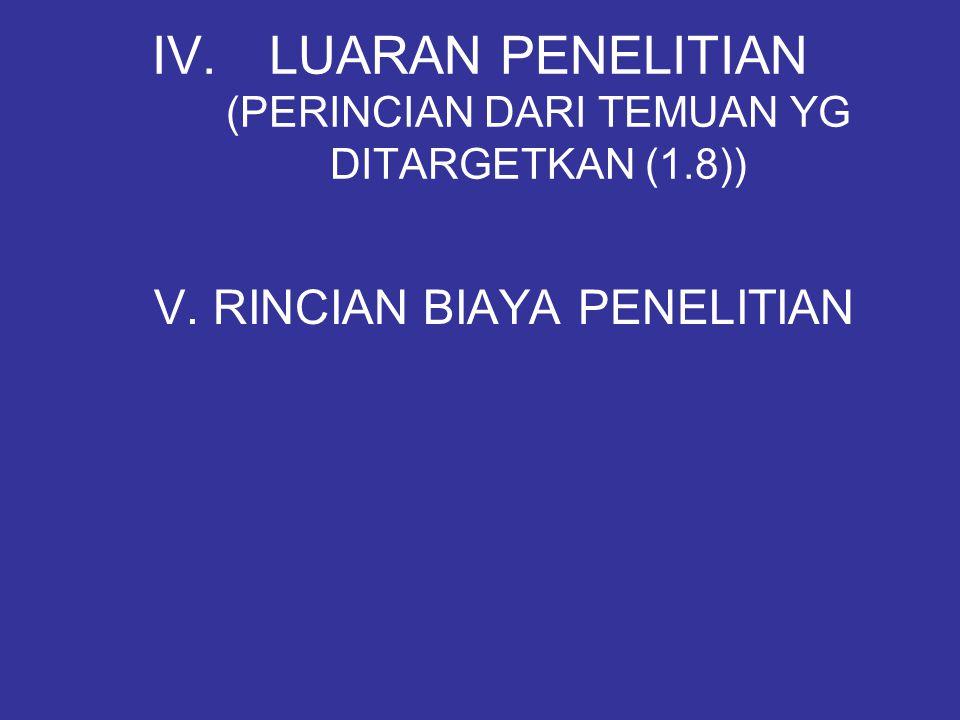 LUARAN PENELITIAN (PERINCIAN DARI TEMUAN YG DITARGETKAN (1.8))