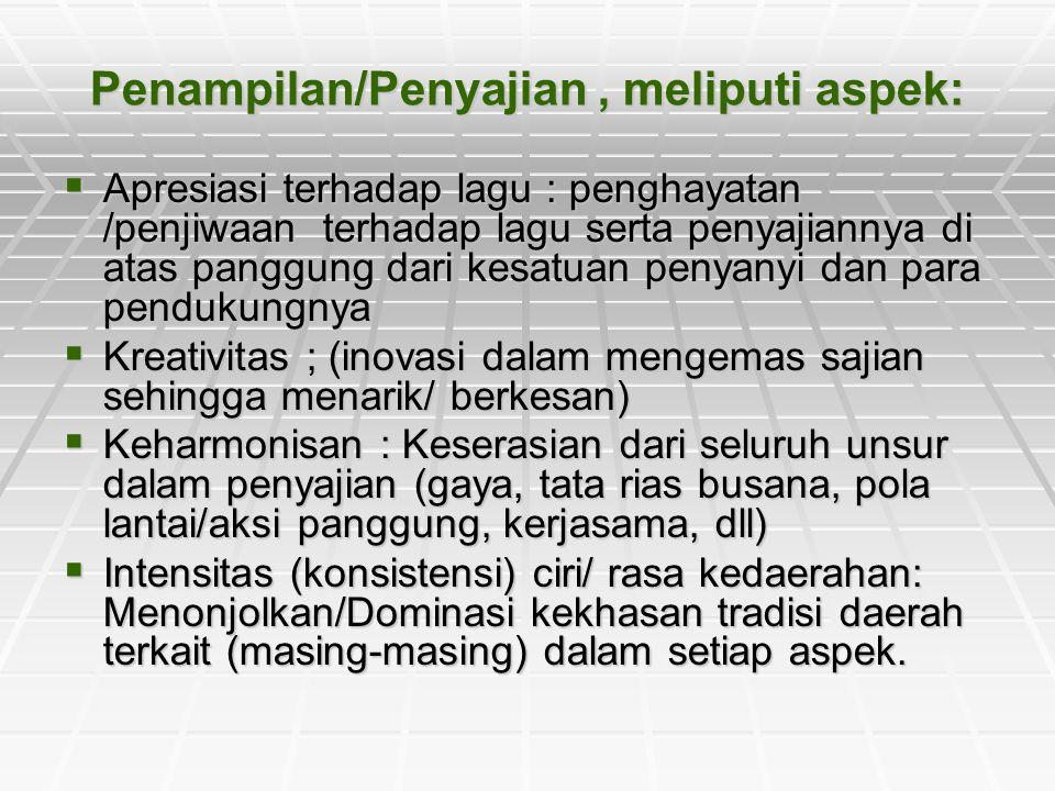 Penampilan/Penyajian , meliputi aspek: