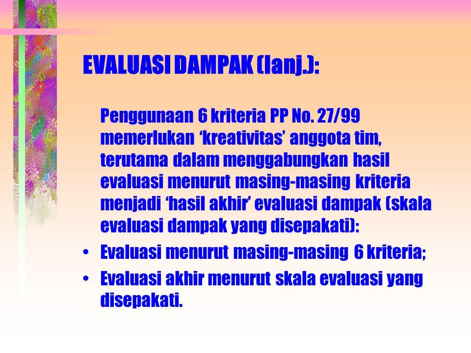 EVALUASI DAMPAK (lanj.):