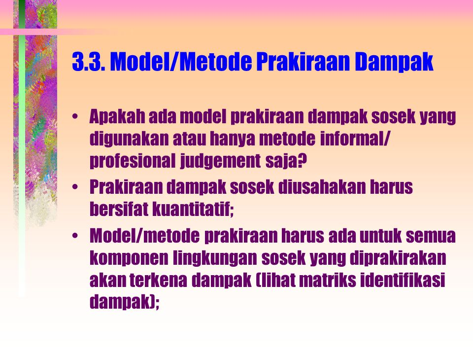 3.3. Model/Metode Prakiraan Dampak