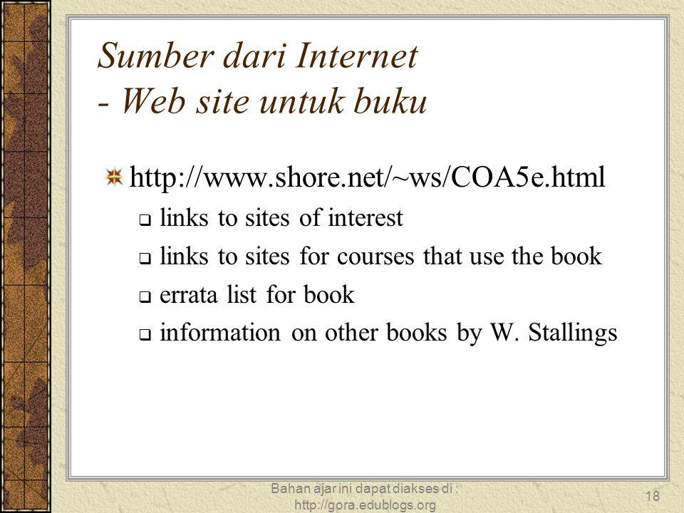 Sumber dari Internet - Web site untuk buku