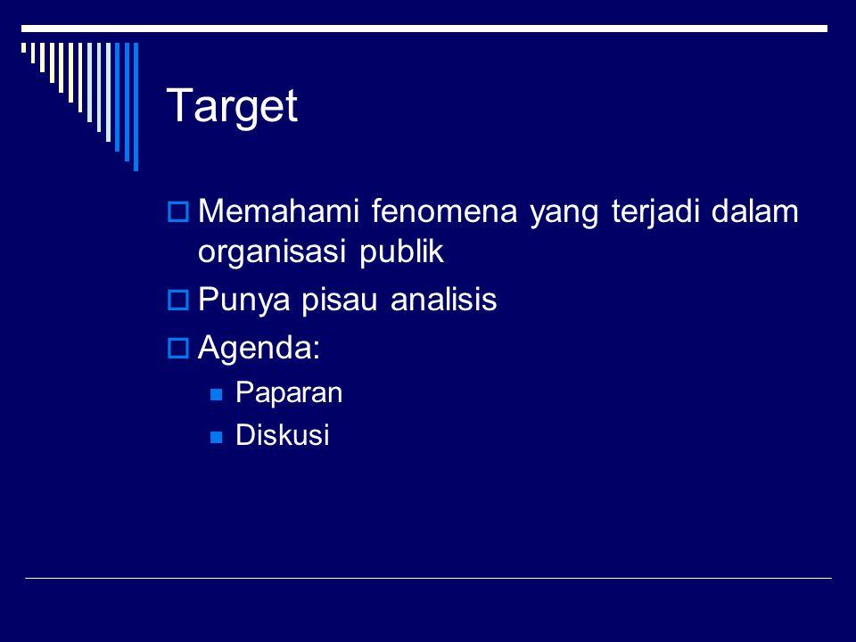 Target Memahami fenomena yang terjadi dalam organisasi publik