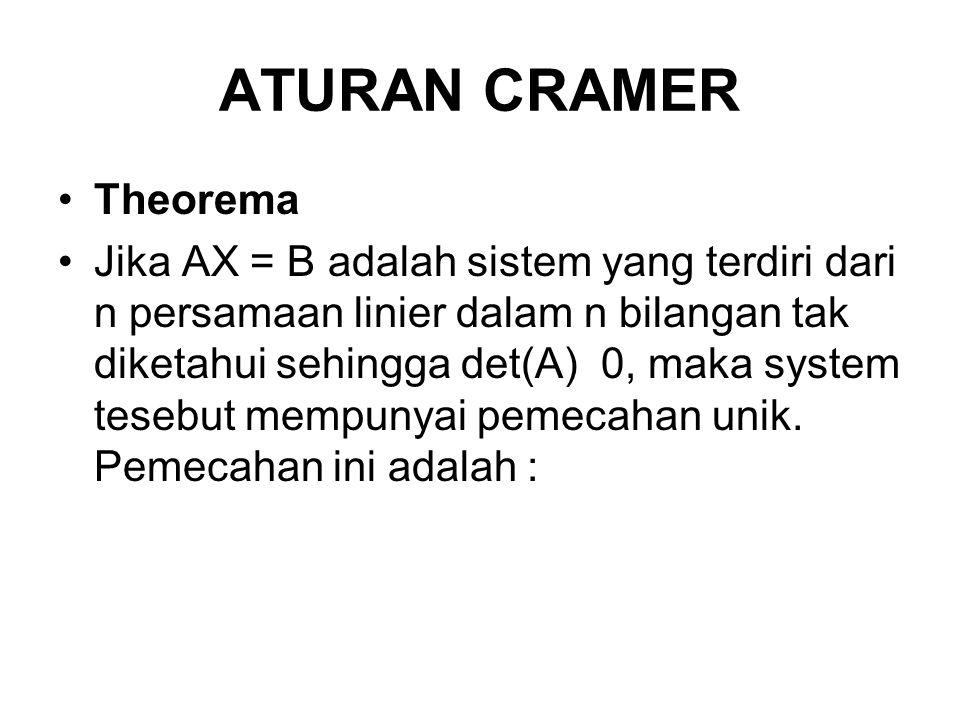 ATURAN CRAMER Theorema