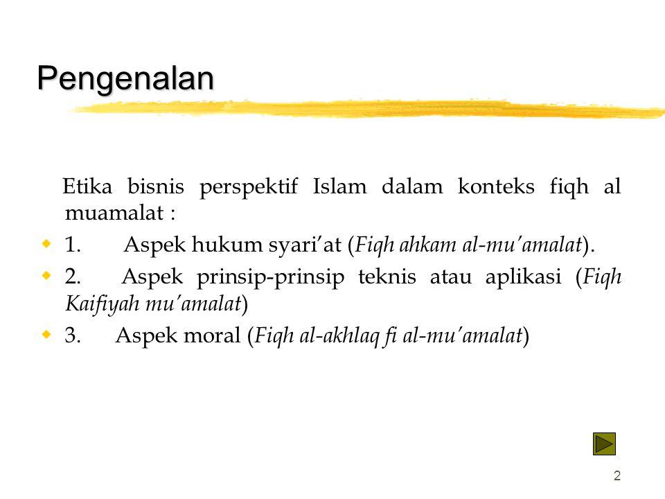 Pengenalan Etika bisnis perspektif Islam dalam konteks fiqh al muamalat : 1. Aspek hukum syari'at (Fiqh ahkam al-mu'amalat).