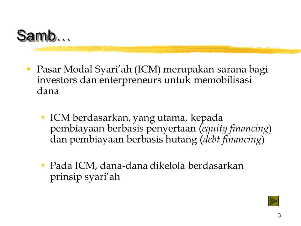 Samb… Pasar Modal Syari'ah (ICM) merupakan sarana bagi investors dan enterpreneurs untuk memobilisasi dana.