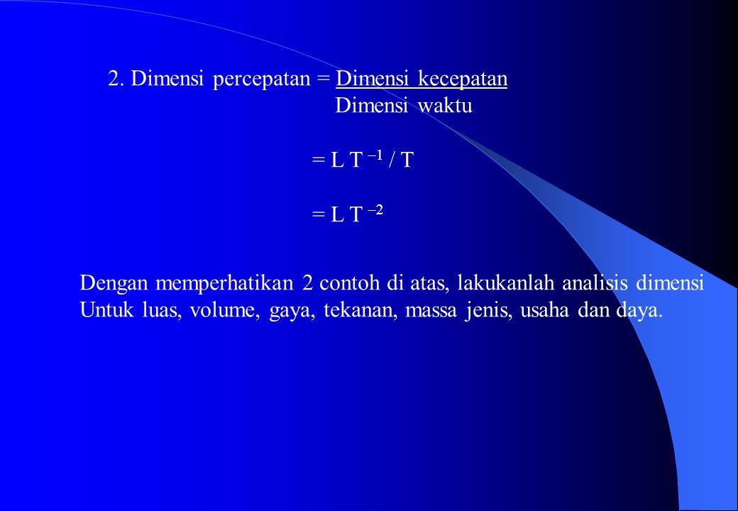 2. Dimensi percepatan = Dimensi kecepatan