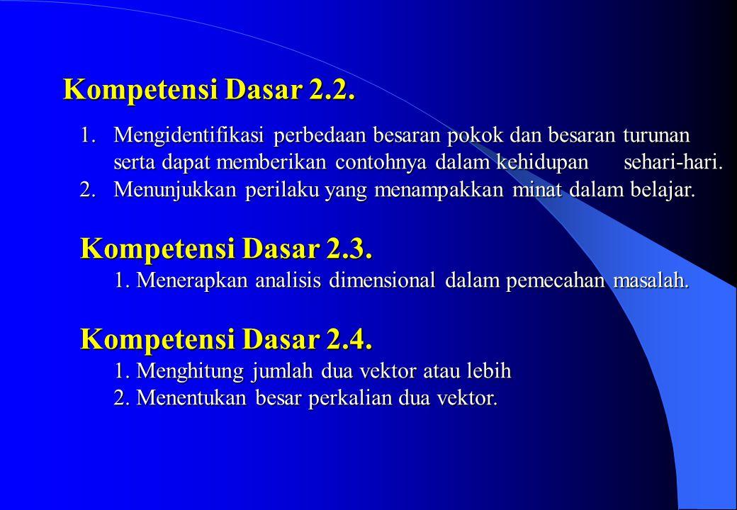 Kompetensi Dasar 2.2. Mengidentifikasi perbedaan besaran pokok dan besaran turunan.