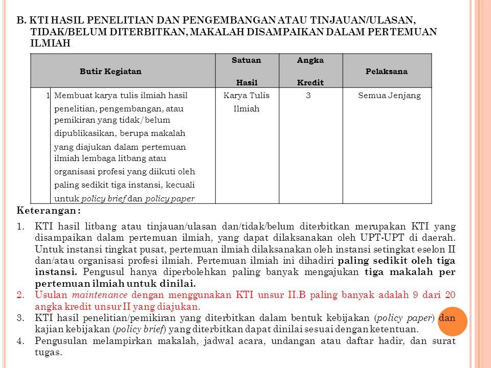B. KTI HASIL PENELITIAN DAN PENGEMBANGAN ATAU TINJAUAN/ULASAN,