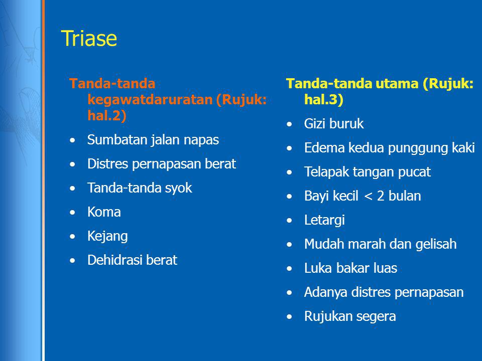 Triase Tanda-tanda kegawatdaruratan (Rujuk: hal.2)