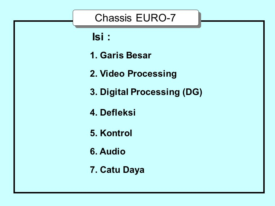 Chassis EURO-7 Isi : 1. Garis Besar 2. Video Processing