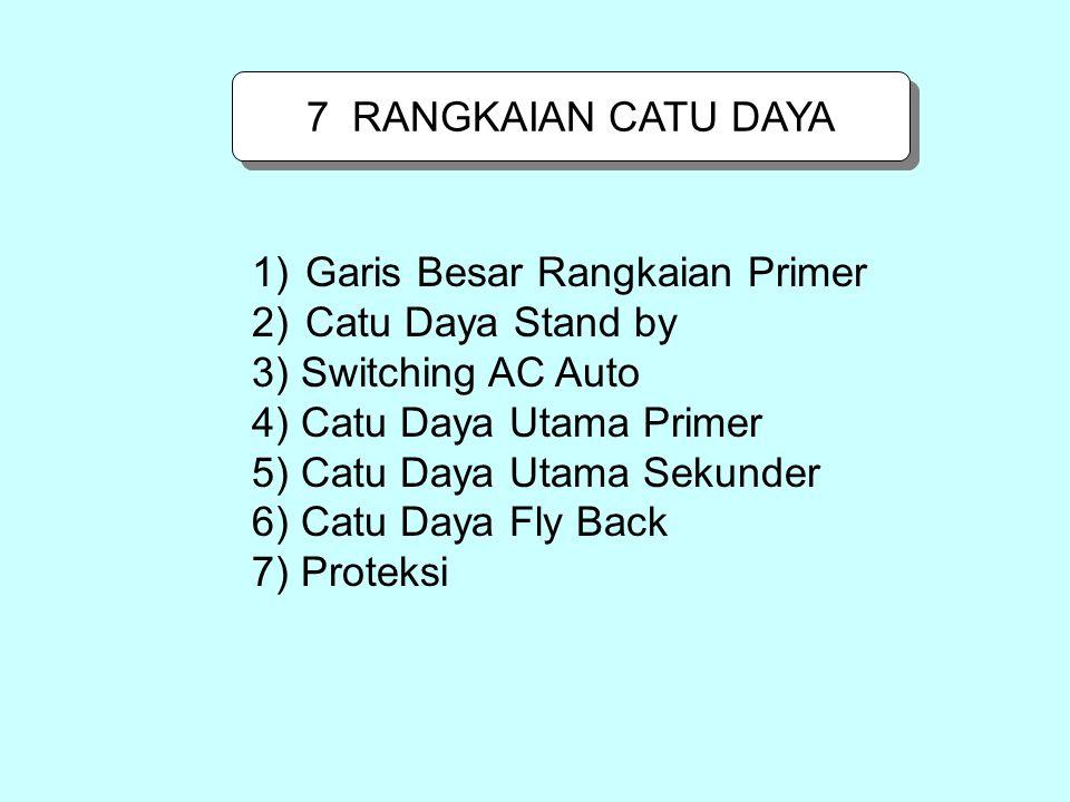 7 RANGKAIAN CATU DAYA Garis Besar Rangkaian Primer. Catu Daya Stand by. 3) Switching AC Auto. 4) Catu Daya Utama Primer.