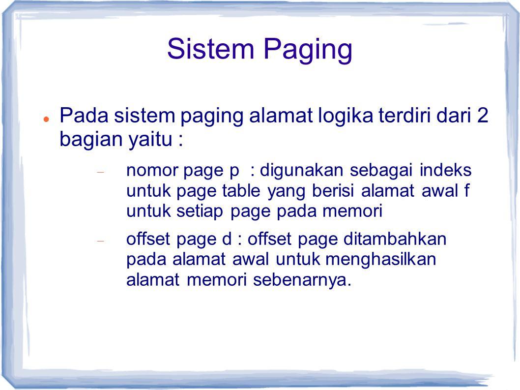 Sistem Paging Pada sistem paging alamat logika terdiri dari 2 bagian yaitu :