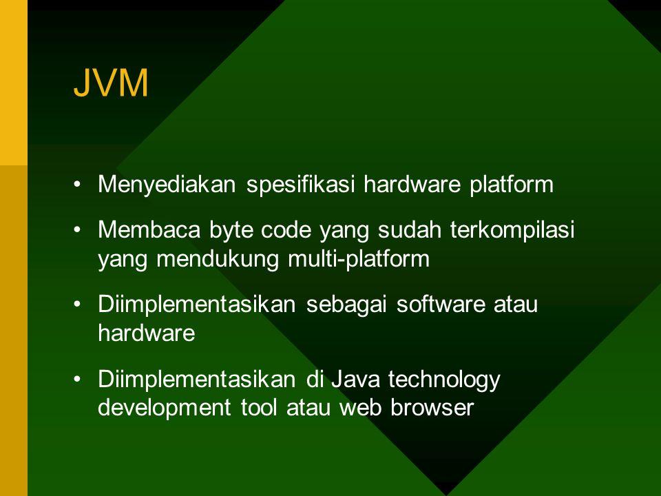 JVM Menyediakan spesifikasi hardware platform