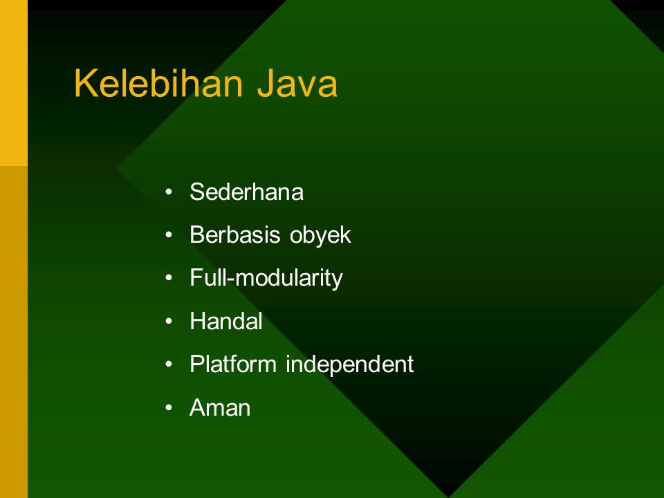 Kelebihan Java Sederhana Berbasis obyek Full-modularity Handal