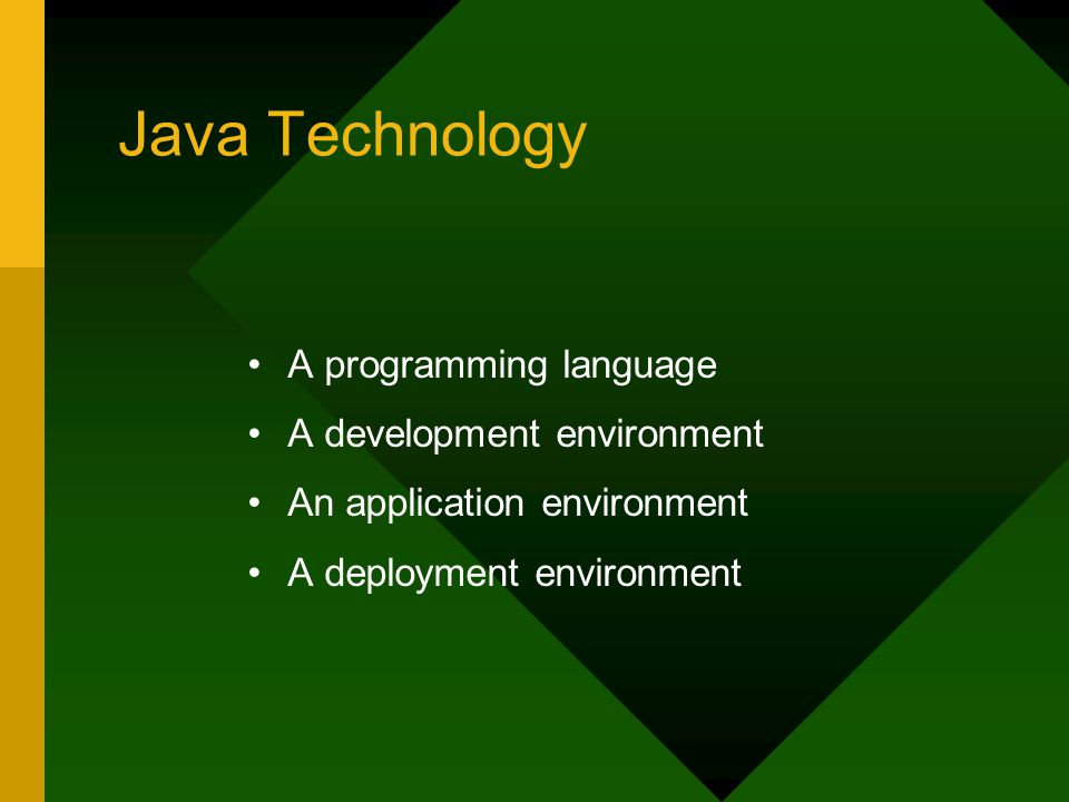Java Technology A programming language A development environment