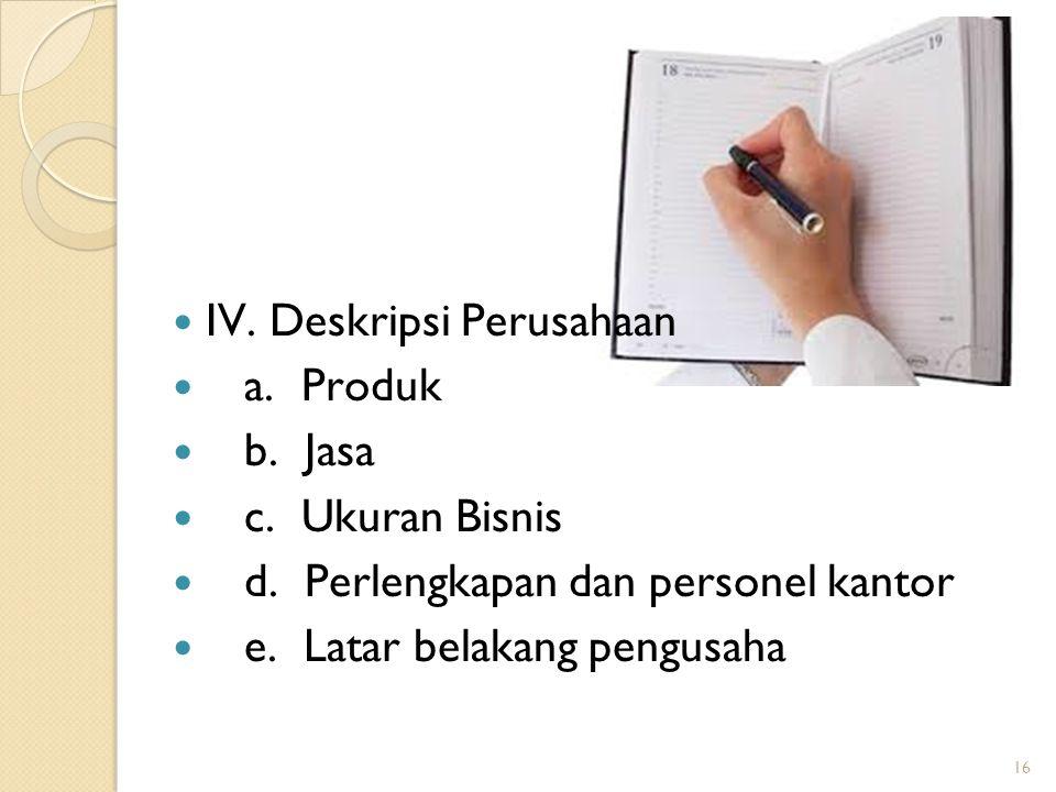 IV. Deskripsi Perusahaan a. Produk b. Jasa c. Ukuran Bisnis