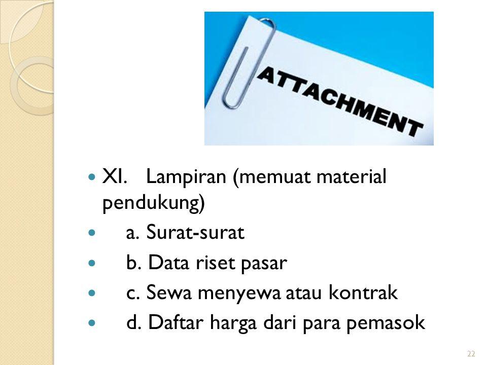 XI. Lampiran (memuat material pendukung) a. Surat-surat