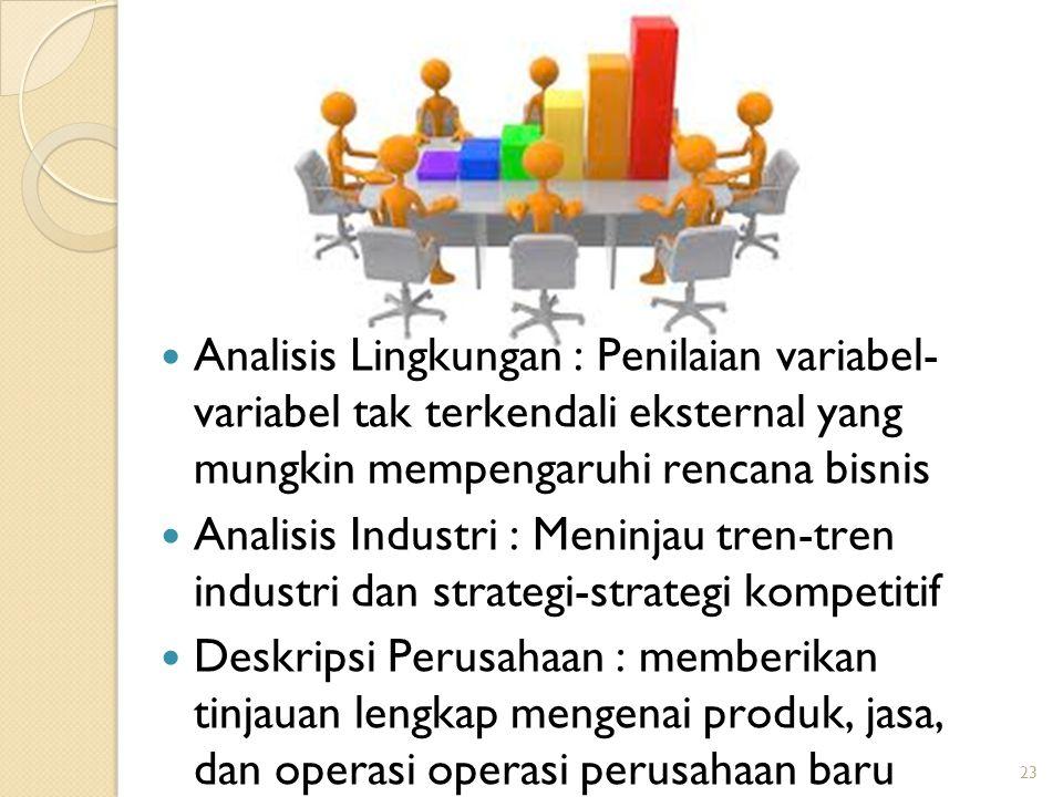 Analisis Lingkungan : Penilaian variabel- variabel tak terkendali eksternal yang mungkin mempengaruhi rencana bisnis