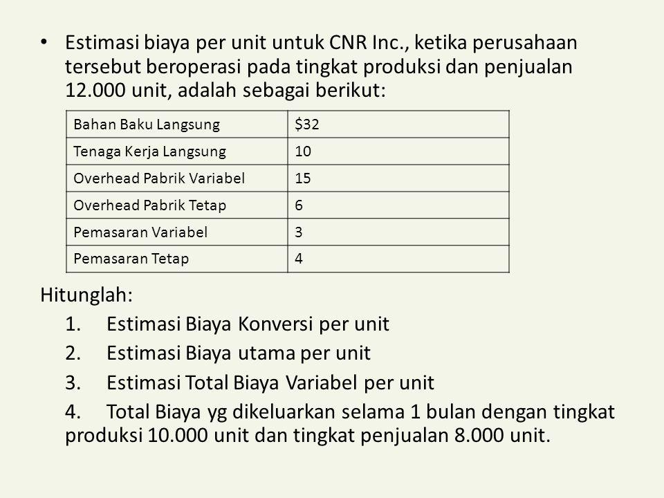 1. Estimasi Biaya Konversi per unit 2. Estimasi Biaya utama per unit