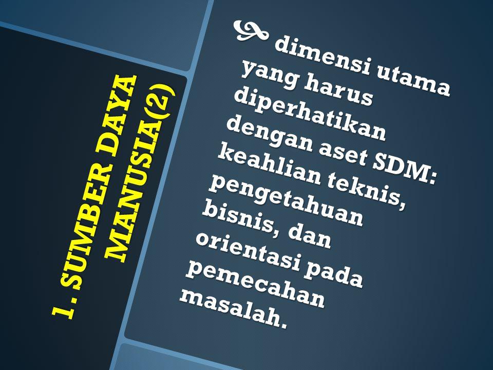 dimensi utama yang harus diperhatikan dengan aset SDM: keahlian teknis, pengetahuan bisnis, dan orientasi pada pemecahan masalah.