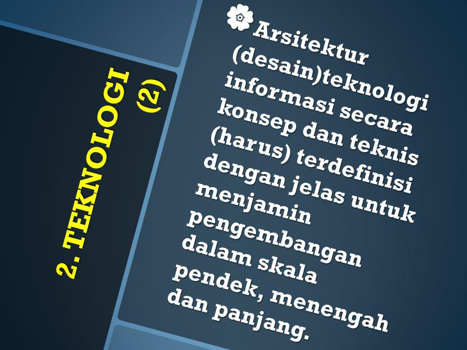 Arsitektur (desain)teknologi informasi secara konsep dan teknis (harus) terdefinisi dengan jelas untuk menjamin pengembangan dalam skala pendek, menengah dan panjang.