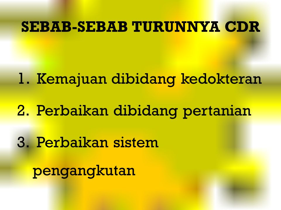SEBAB-SEBAB TURUNNYA CDR