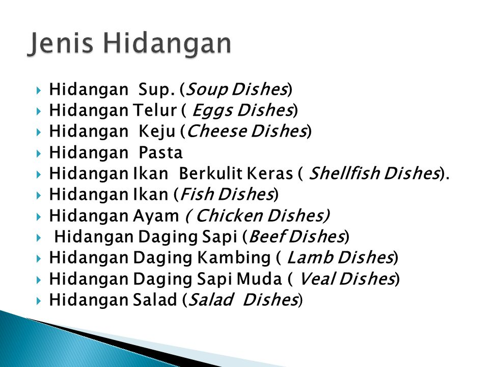Jenis Hidangan Hidangan Sup. (Soup Dishes)