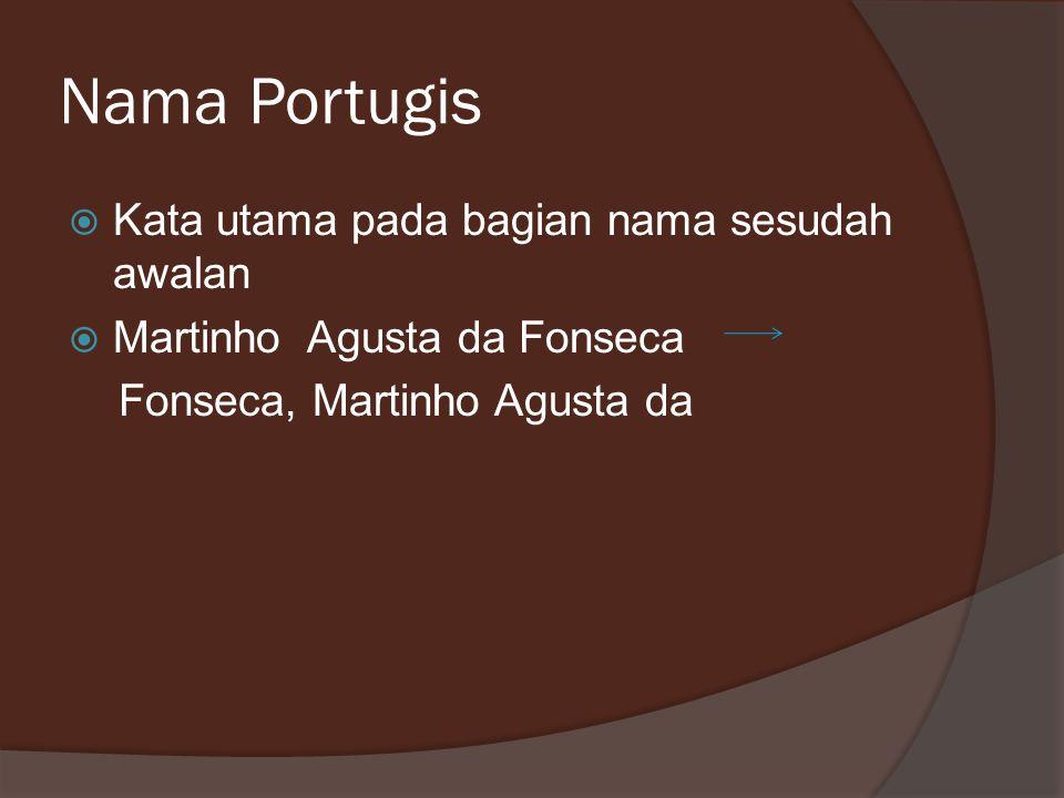 Nama Portugis Kata utama pada bagian nama sesudah awalan